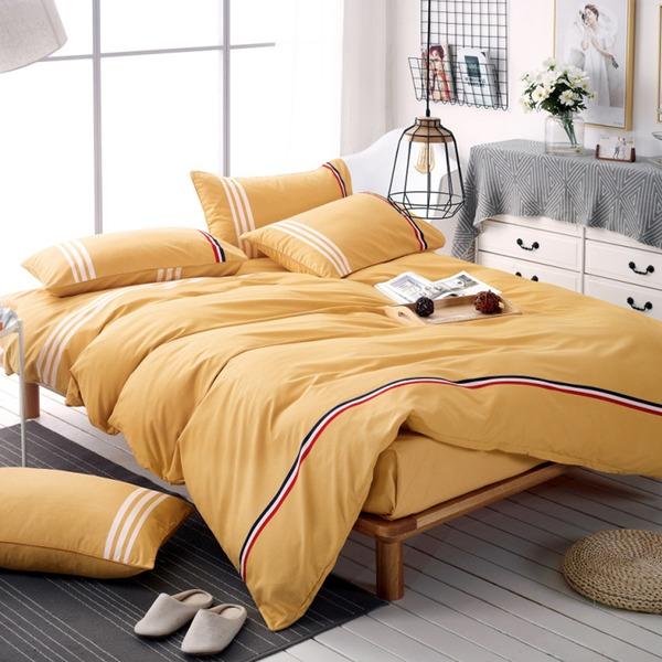 Traditionelle / Klassisch einfache elegant Polyester Bett Bad (4pcs: 1 Bettbezug 1 Bettlaken 2 Kissenbezug)