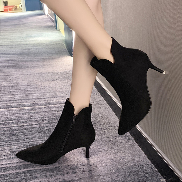 Women's Fabric Stiletto Heel Ankle Boots With Split Joint shoes