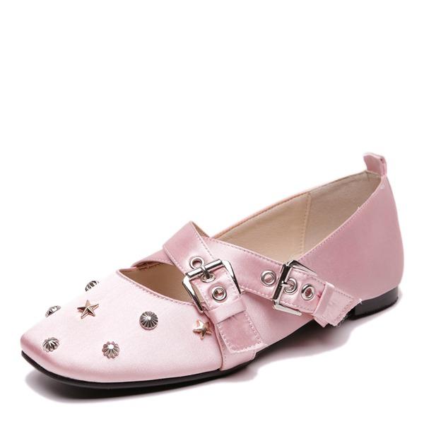 Kvinner Satin Flat Hæl Flate sko med Rivet Spenne sko