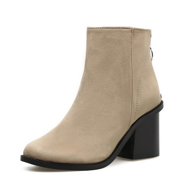 Women's Suede Chunky Heel Boots Ankle Boots With Zipper shoes