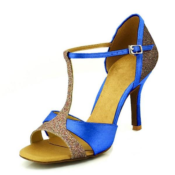 Women's Satin Heels Sandals Pumps Latin Dance Shoes