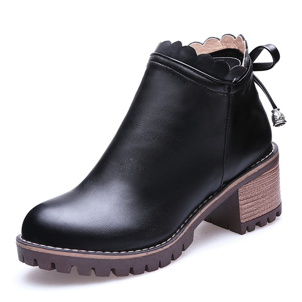 Frauen Kunstleder Stämmiger Absatz Absatzschuhe Geschlossene Zehe Stiefel Stiefelette mit Reißverschluss Zuschnüren Schuhe