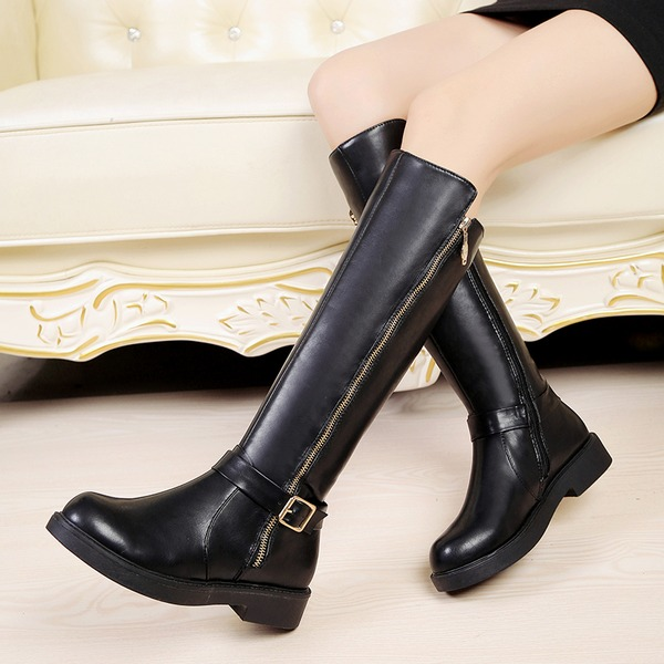 Women's Leatherette Low Heel Closed Toe Boots Knee High Boots With Buckle Zipper shoes