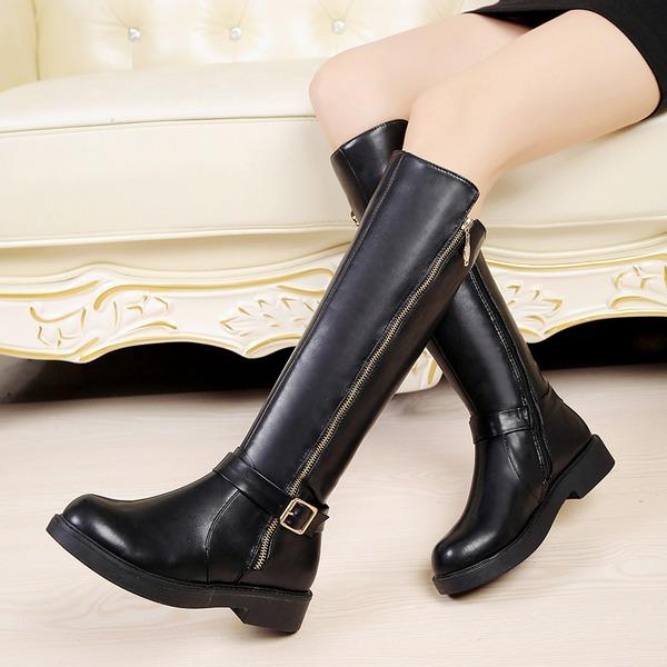 Donna Similpelle Tacco basso Punta chiusa Stivali Stivali al ginocchio con Fibbia Cerniera scarpe