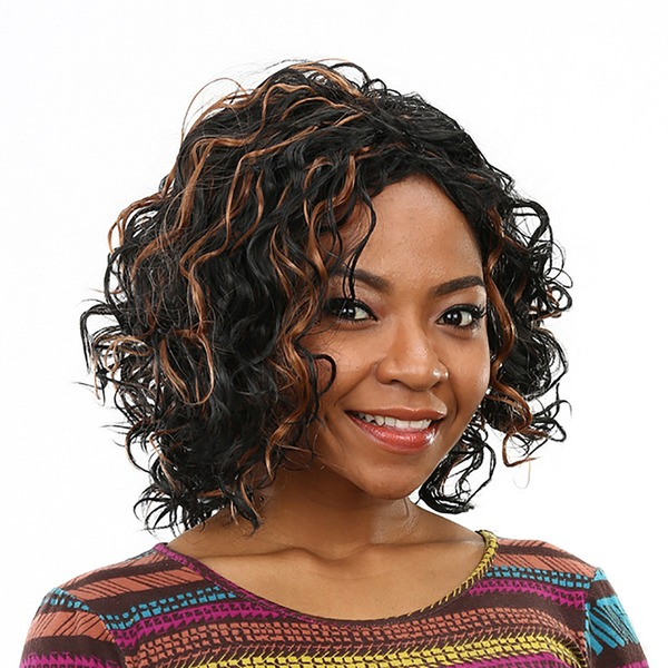 High temperature Curly Mid-Length Synthetic Wigs African American Wigs