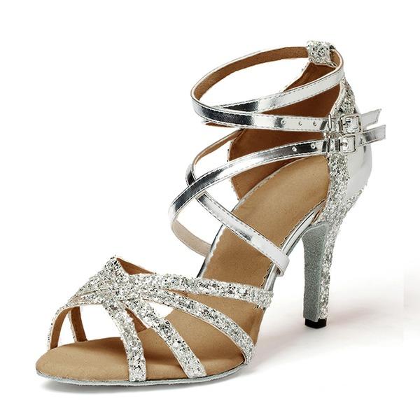 Kvinnor Konstläder Glittrande Glitter Klackar Sandaler Latin Dansskor
