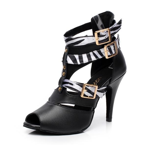 De mujer Piel Tacones Botas Danza latina con Estampado de animales Hebilla Zapatos de danza