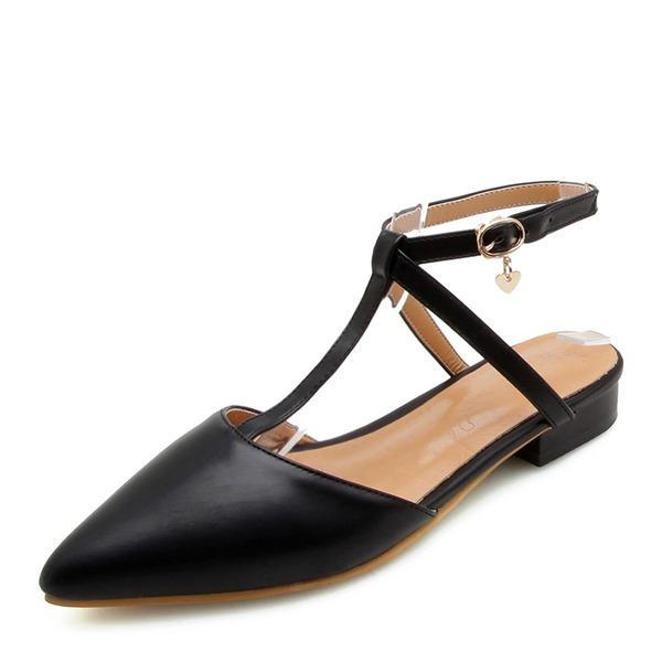Femmes PU Talon plat Sandales Chaussures plates Bout fermé Escarpins avec Dentelle chaussures
