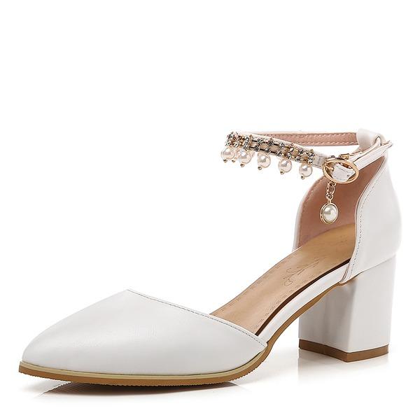 Frauen Kunstleder Stämmiger Absatz Absatzschuhe Geschlossene Zehe Mary Jane mit Nachahmungen von Perlen Schnalle Kette Schuhe