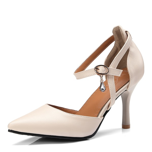 De mujer Cuero Tacón stilettos Sandalias Salón Cerrados con Hebilla zapatos