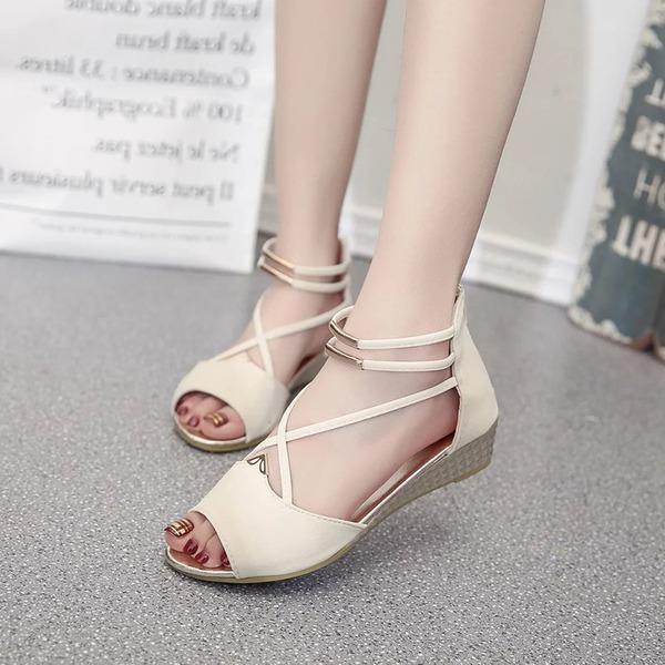 Frauen PU Keil Absatz Sandalen Keile Peep Toe mit Reißverschluss Schuhe
