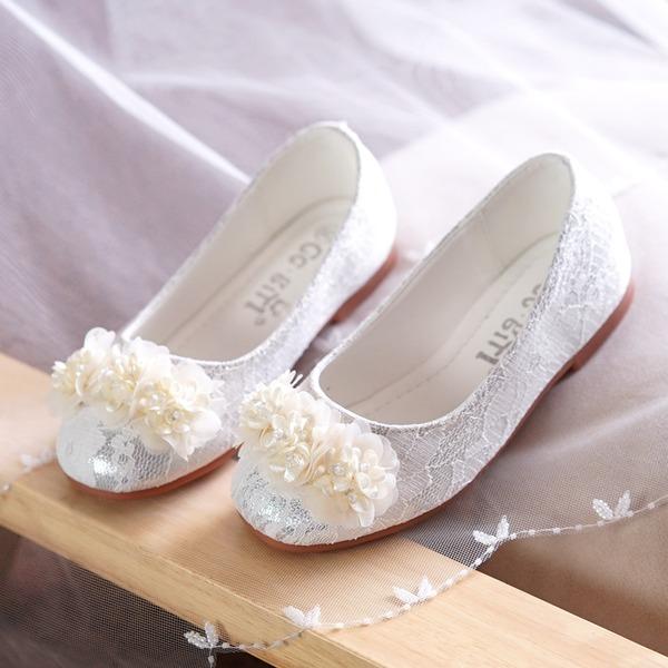 Muchacha Punta Cerrada Spitze Talón plano Planos Zapatos de niña de las flores con Cuentas Flor