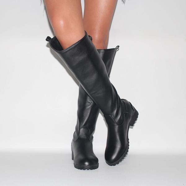 Женщины кожа Низкий каблук Закрытый мыс Ботинки Сапоги до колен обувь