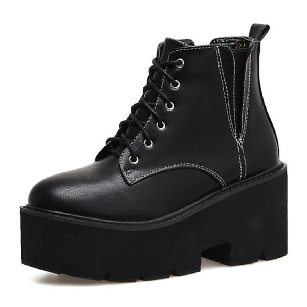 Kadın Suni deri Dolgu Topuk Kapalı Toe Bot Ayak bileği Boots Ile Bağcıklı ayakkabı
