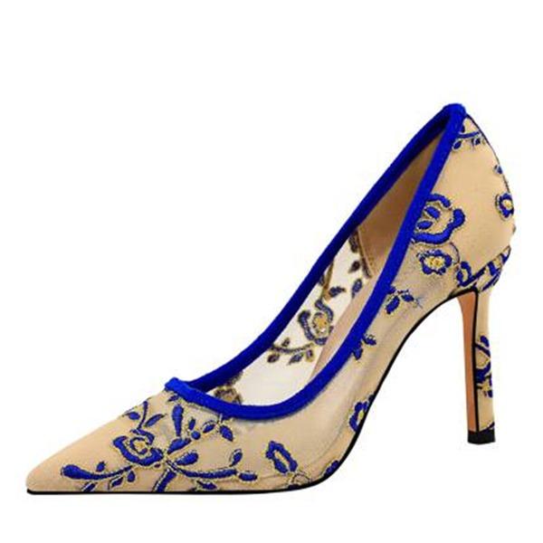 Mulheres Malha Salto agulha Bombas Fechados com Oca-out sapatos