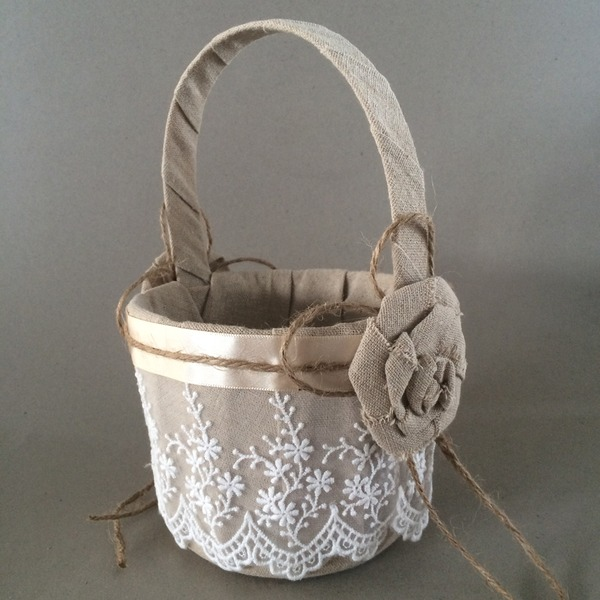 Beautiful Flower Basket in Linen With Lace