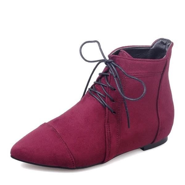 Femmes Suède Talon plat Bottes Bottines avec Dentelle chaussures