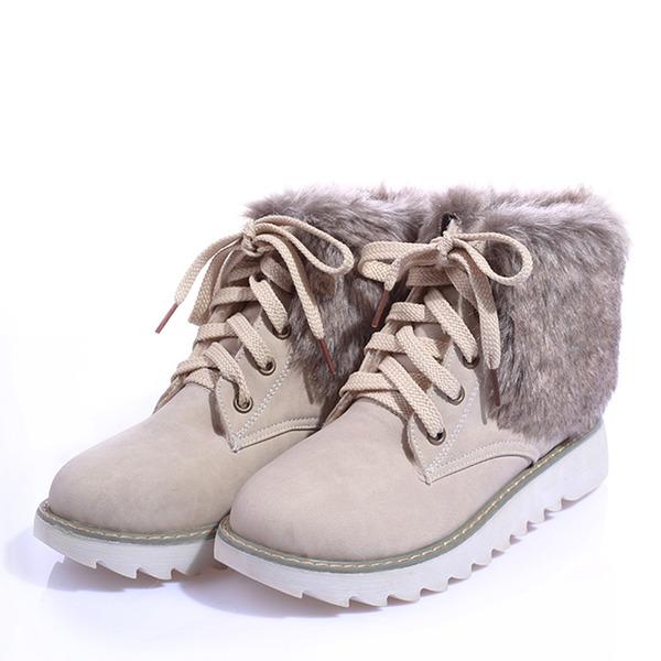 Vrouwen Kunstleer Low Heel Enkel Laarzen met Vastrijgen schoenen