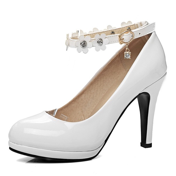 Vrouwen Patent Leather Stiletto Heel Pumps Plateau Closed Toe Over De Knie Laarzen met Strass Bloem schoenen