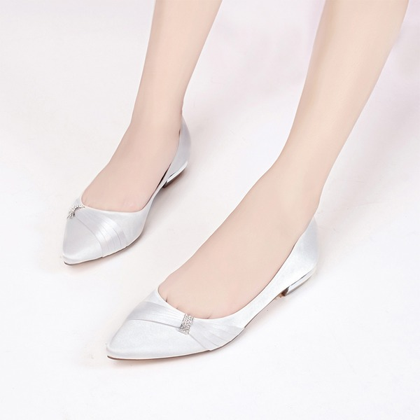 Women's Silk Like Satin Low Heel Closed Toe Flats With Buckle Rhinestone