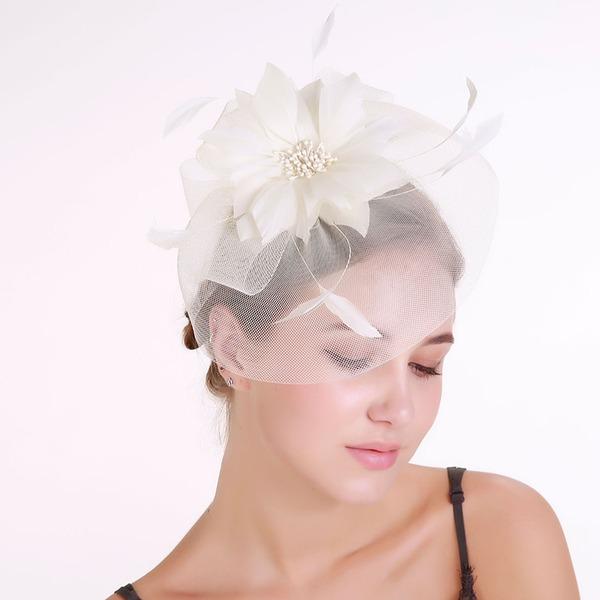 Dames Élégante Feather/Fil net avec Feather Chapeaux de type fascinator