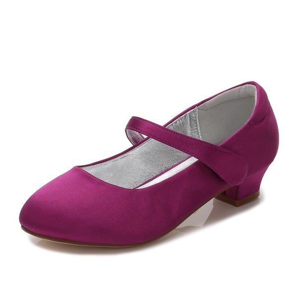 Fille de bout rond Bout fermé Mary Jane Soie satin Low Heel Chaussures de fille de fleur avec Strass Velcro