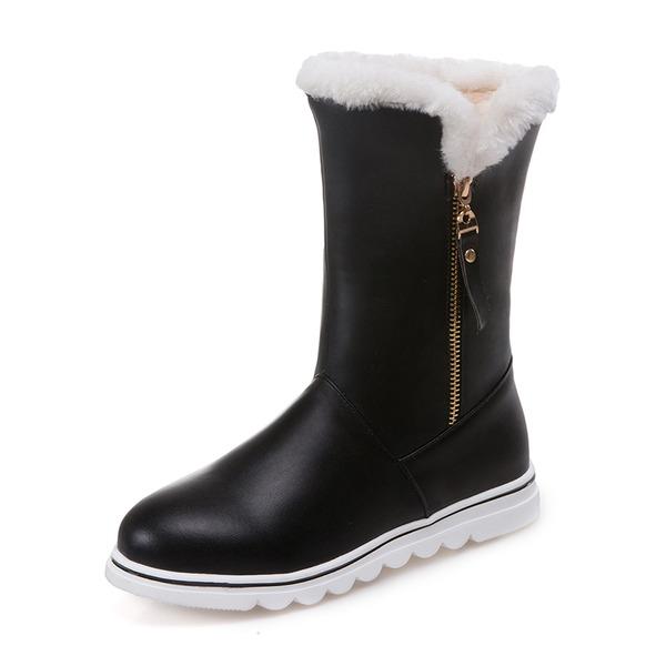 Donna Similpelle Senza tacco Punta chiusa Stivali Stivali altezza media Stivali da neve con Cerniera Nappa Pelliccia scarpe