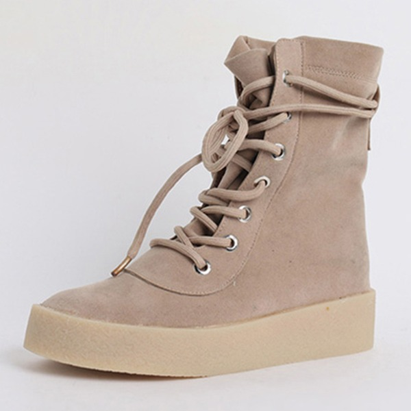 Women's Suede Flat Heel Closed Toe Boots With Lace-up shoes