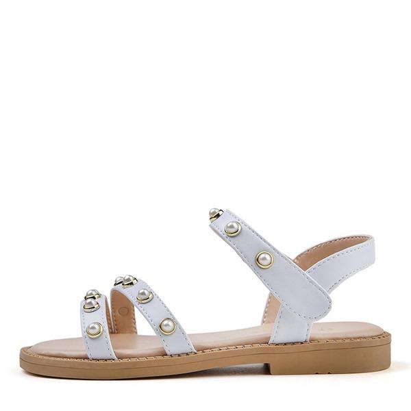 Jentas Titte Tå Leather flat Heel Flate sko Flower Girl Shoes