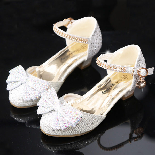 Girl's Round Toe Sparkling Glitter Flower Girl Shoes With Bowknot Crystal