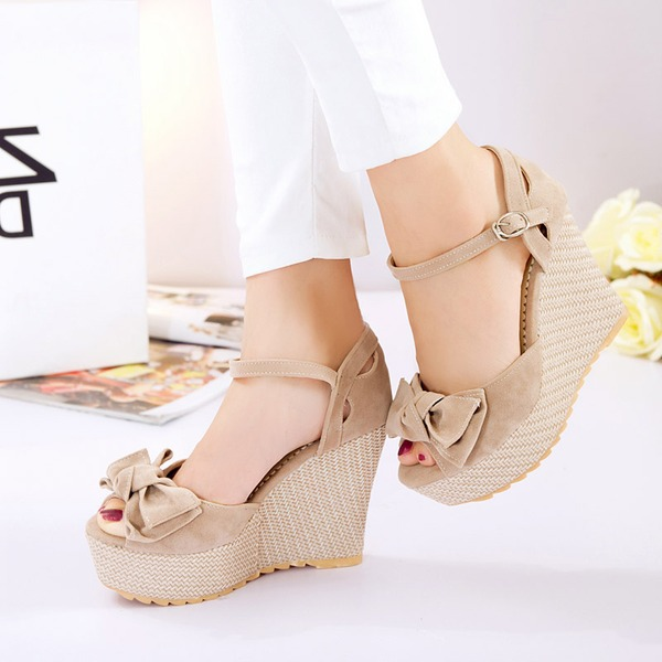 Mulheres Camurça Plataforma Bombas Calços com Bowknot sapatos