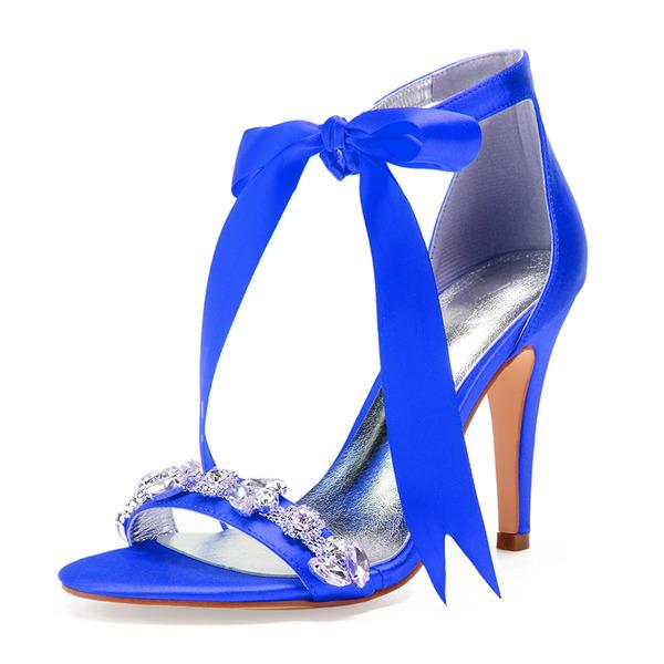 Kvinner silke som sateng Stiletto Hæl Titte Tå Pumps Sandaler med Bowknot Rhinestone Båndknute Blondér