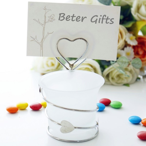 Heart Shaped Iron Place Card Holders