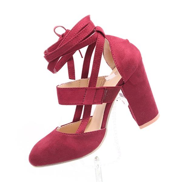 Женщины Замша Устойчивый каблук На каблуках с Шнуровка обувь