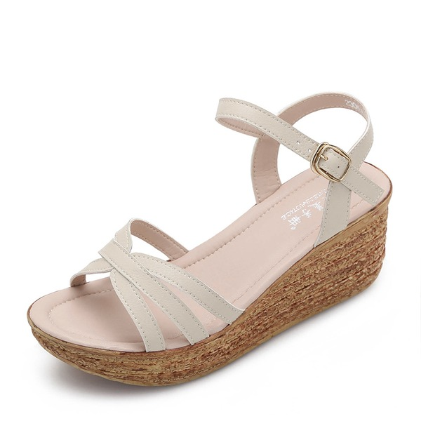 Women's Microfiber Leather Wedge Heel Sandals Wedges Peep Toe shoes