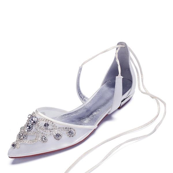 Frauen Seide wie Satin Mesh Flascher Absatz Flache Schuhe Sandalen mit Strass Hohl-out Blume Zuschnüren