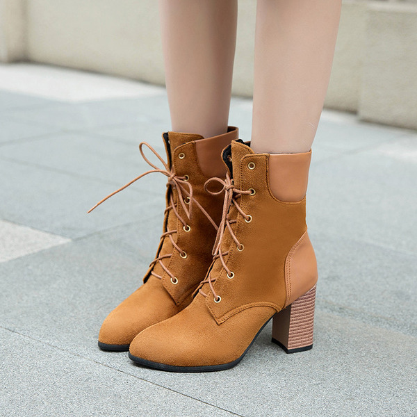Women's Suede Stiletto Heel Boots Ankle Boots With Lace-up shoes