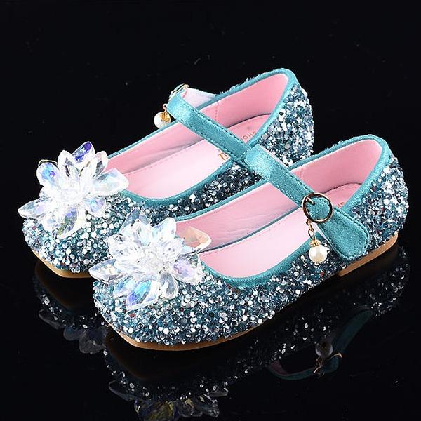 Mädchens Round Toe Geschlossene Zehe Leder funkelnden Glitter Flache Ferse Sandalen Flache Schuhe Blumenmädchen Schuhe mit Klettverschluss Kristall