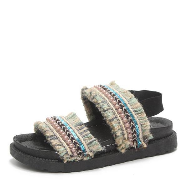 Frauen Stoff Flascher Absatz Sandalen Flache Schuhe Peep Toe mit Perle Schuhe