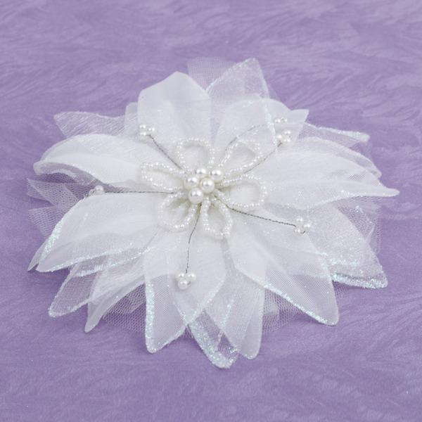Элегантные Искусственного шелка Цветы и перья с искусственный жемчуг
