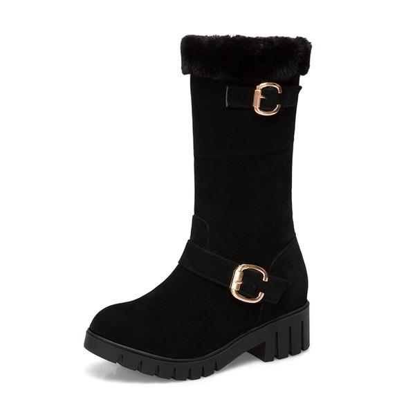 Kvinder Ruskind Lav Hæl Lukket Tå Støvler Mid Læggen Støvler Snestøvler med Spænde sko