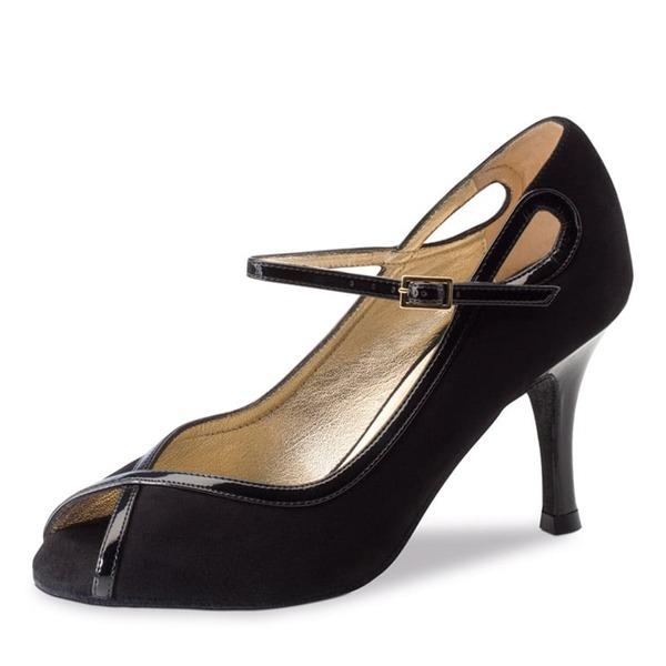 Donna Camoscio Tacchi Latino Scarpe da ballo