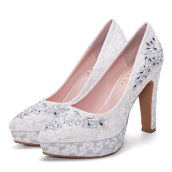 Vrouwen Mesh Stiletto Heel Pumps Plateau Closed Toe met Strass schoenen
