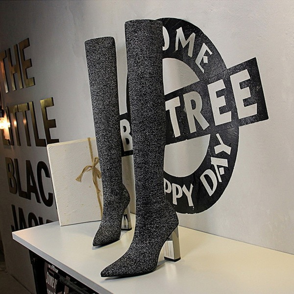 Women's Fabric Chunky Heel Pumps Closed Toe Boots Over The Knee Boots With Crystal Heel shoes