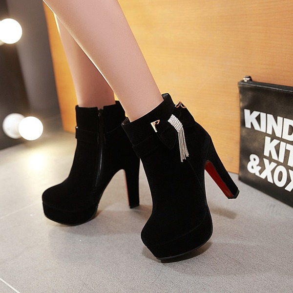 Women's Suede Chunky Heel Pumps Platform Boots With Bowknot Zipper shoes