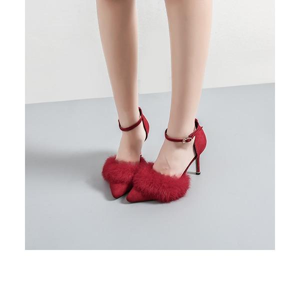 Femmes Velours Talon stiletto Escarpins Bout fermé avec Fourrure chaussures