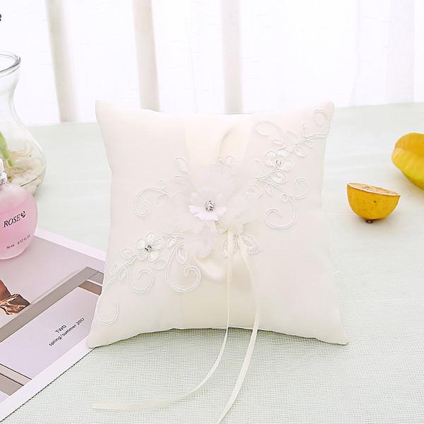Elegante Rosa Anello Cuscino in Panno con Arco/Fiori