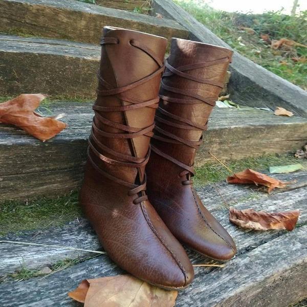 Женщины кожа Плоский каблук На плокой подошве Ботинки Сапоги до середины голени с Шнуровка обувь