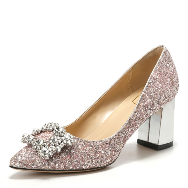 Vrouwen Kunstleer Sprankelende Glitter Chunky Heel Closed Toe met Gesp