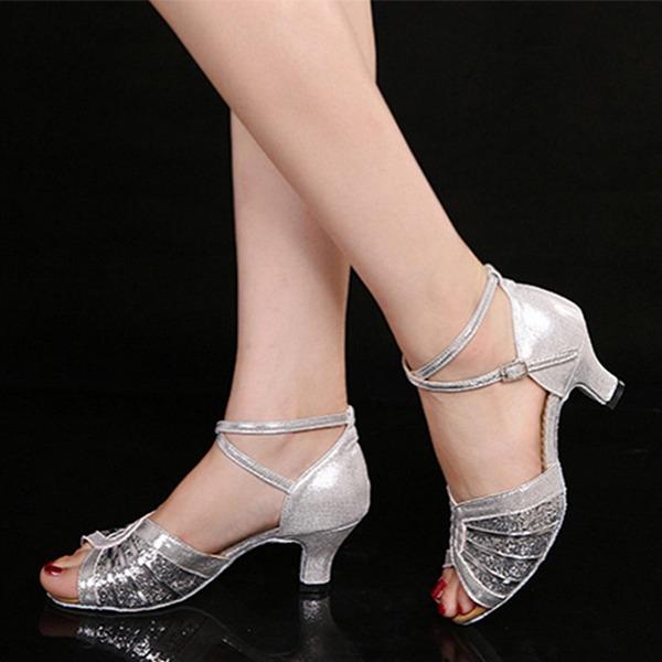 Женщины Мерцающая отделка Сандалии Латино с Ремешок на щиколотке Обувь для танцев